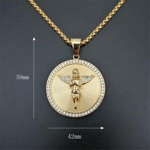 Image 2 - Ожерелье с подвеской в стиле хип хоп с изображением крыльев Ангела для женщин и мужчин, Золотое круглое ожерелье из нержавеющей стали, украшения