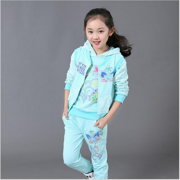 Baby Girls Clothing Sets  kids Jacket+Hoodies+Pants 3 Pieces Children Clothes Suit Spring Autumn Cotton Long Sleeve Sports Suit 2016 spring baby girl hoodies jackets sets cotton cartoon pig baby hoodies girls coverall vestido infantil hoodiest pants 3pcs