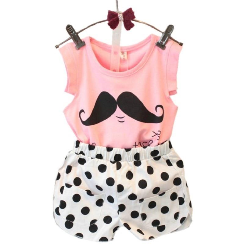 2016 Summer Style Baby Girls Clothing Set Sleeveless T-shirt+Polka Dot Pant 2pcs/set Kids Cotton Clothes Set 2-8 Years