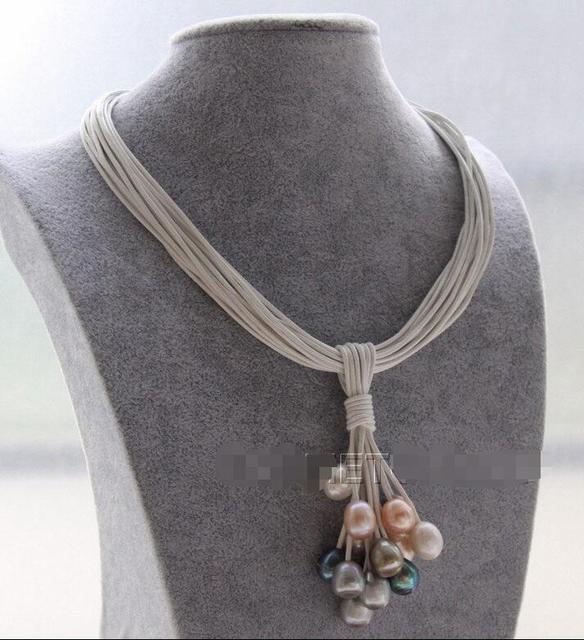 Free shipping hot sale Women Bridal Wedding Jewelry >>New 15Strands leather white pink black gray pearls Choker necklace pendant