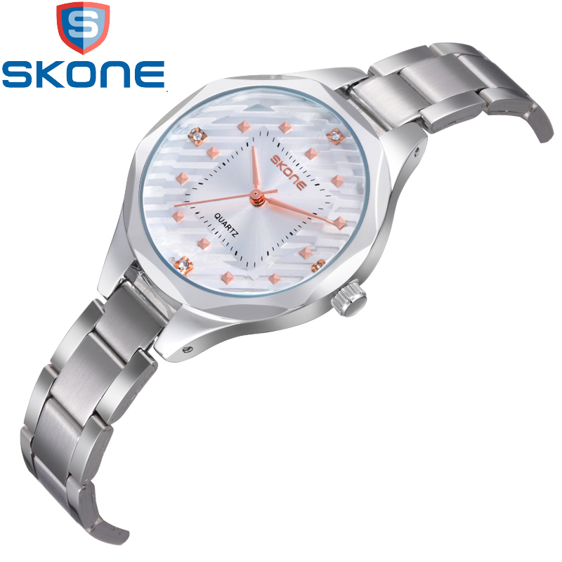 SKONE Simple Women's Watches Beautiful CZ Crystal Stainless Steel Watchband Quartz Watch for Men Wristwatches HE7325 skone 7325 women quartz watch