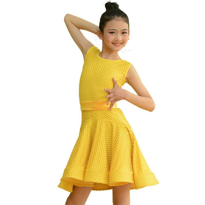 Fashion Latin Dance Dress Girls White Yellow Mesh Cha Cha Samba Salsa Tango Practice Wear Ballroom Performance Dresses DC2387