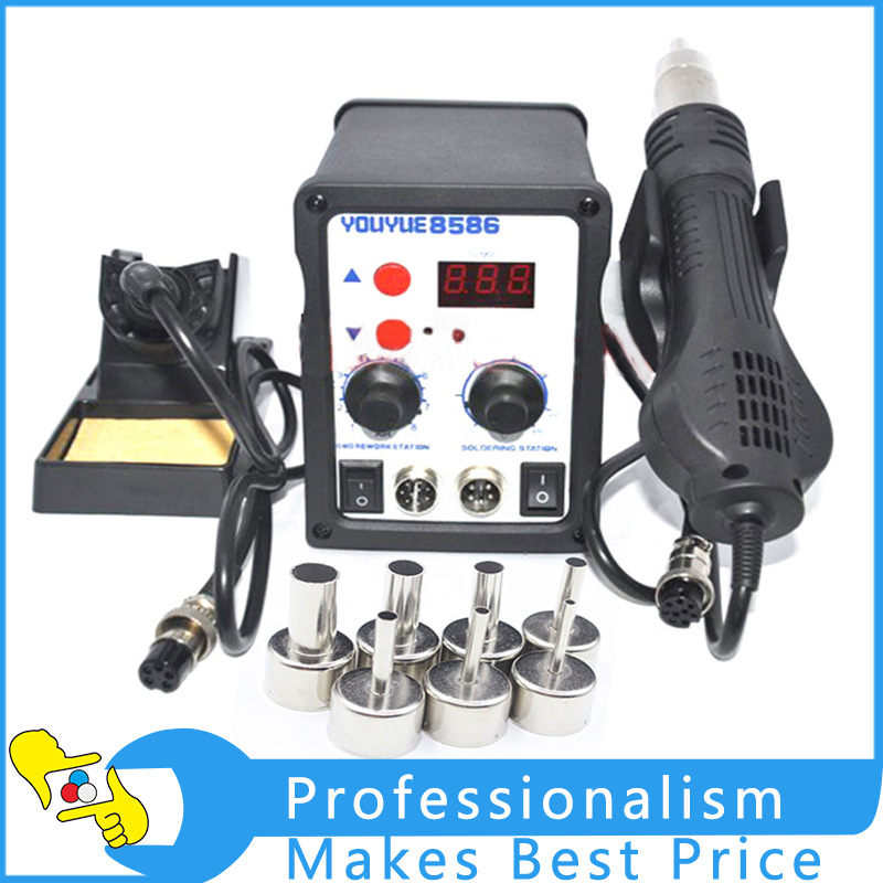 700W Soldering Station 8586 2 in 1 SMD Rework Station Hot Air Gun + Electric Solder iron For Welding Repair Tools Kit 220V/110V 220v 858d digitalhot air gun soldering station welding solder iron for ic smd rework station with heating core