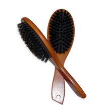 De cerdas de jabalí naturales cepillo masaje peine Anti-estática cuero  cabelludo del pelo del cepillo de paleta de madera de hay. 1252f6dea0f8