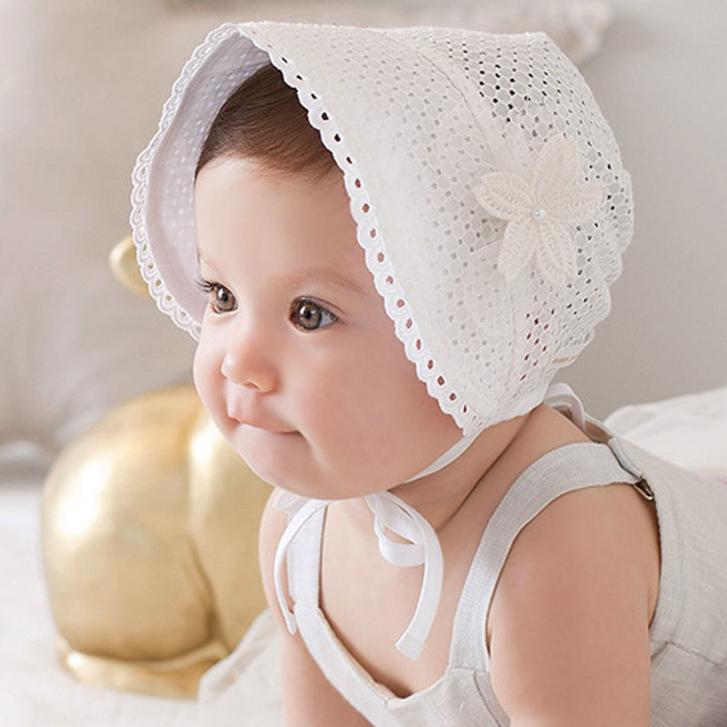Spring Summer Sweet Princess Hollow Baby Girls Hat Lace-up Beanie Cotton Bonnet Enfant Kids Flower Beanie Lace Floral Cap FJ88