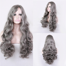 High Quality Lolita Grey Long Curly Wig Cosplay Costume Synthetic Hair Wigs For Women Halloween Party стоимость