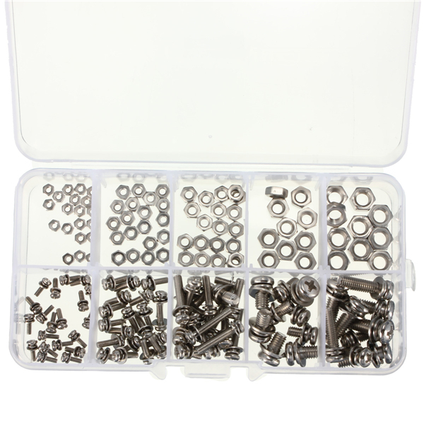 160pcs M2 M2.5 M3 M4 M5 Steel Screws SEM Phillips Pan Head Nuts Assortment Kit