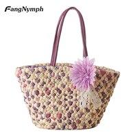 Farmhouse Style Flower Straw Beach Bag Woven Tote Design Bag Women Summer Beach Bag Shoulder Bag
