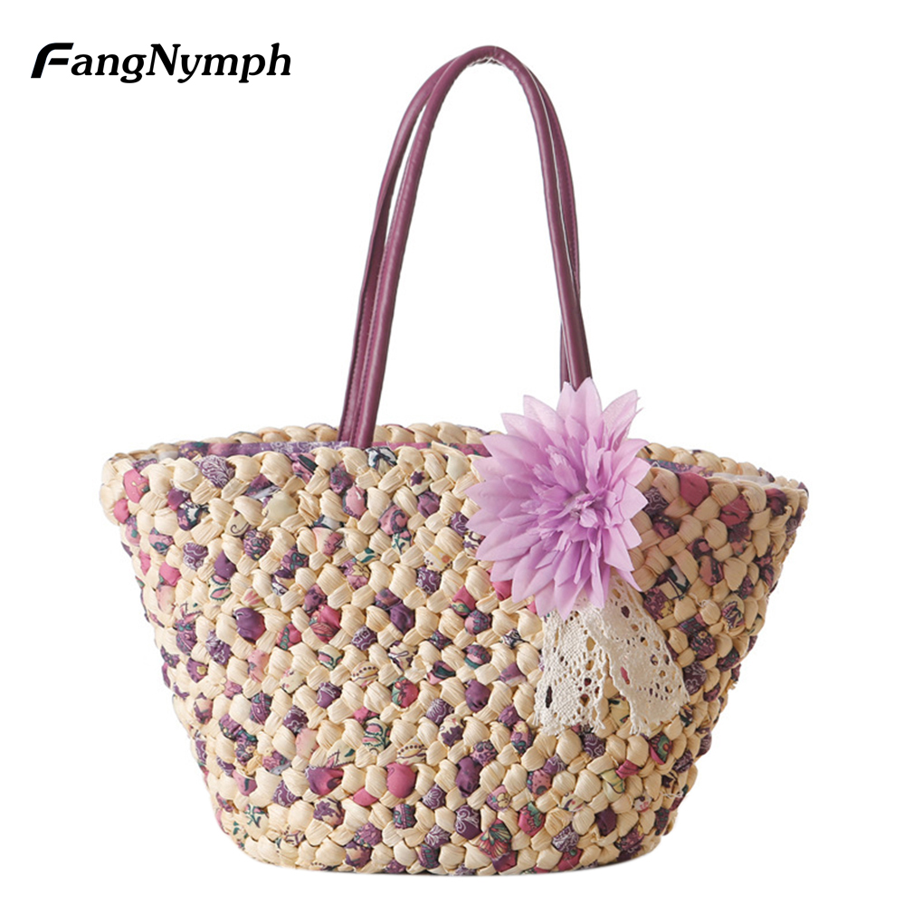 Farmhouse style Flower Straw Beach Bag Woven Tote Design Bag Women Summer Beach Bag Shoulder Bag Handbag hand straw tote handbag summer sunflower woven beach bag fashion large capacity women shopping bag patchwork flower straw bags
