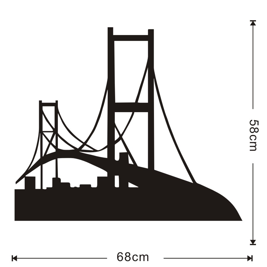 Black Silhouette San Fransisco Wall Decal Vinyl Removable Golden Gate Bridge Sticker Home Decor For Bedroom Muursticker In Stickers From