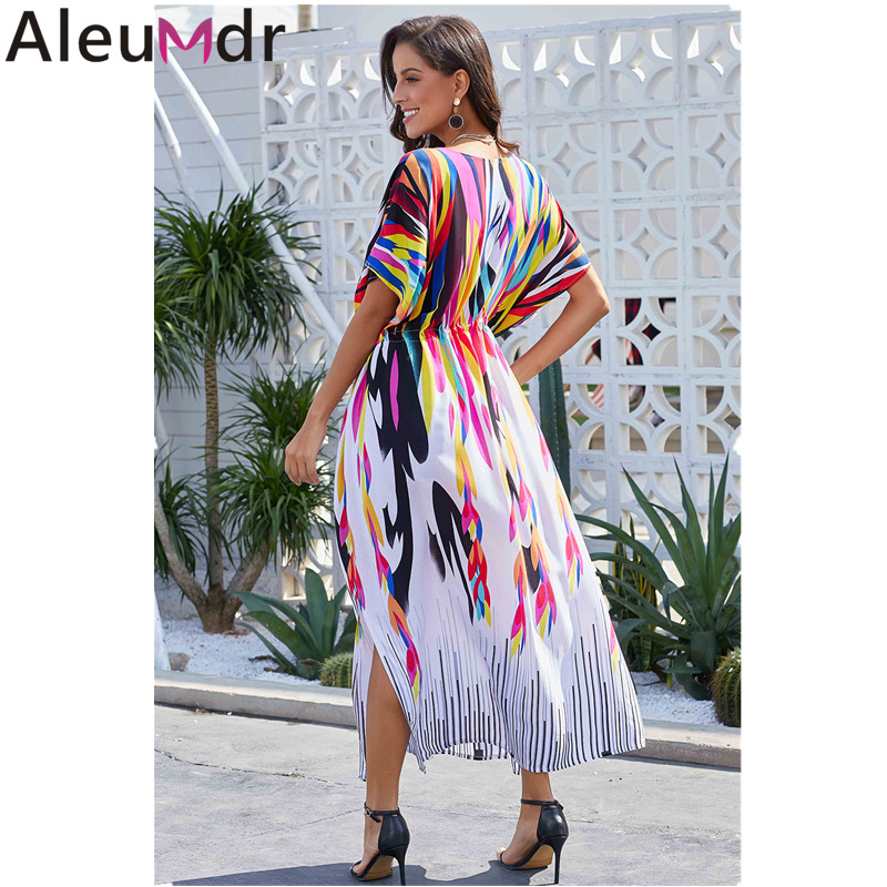 f89ceb627ab02 Aleumdr Boho Dress Long Summer Beach Swimsuit Multicolor Ties Front Maxi  Kaftan Robe Cover Up Bathing Suit Tunic Sarong LC420118