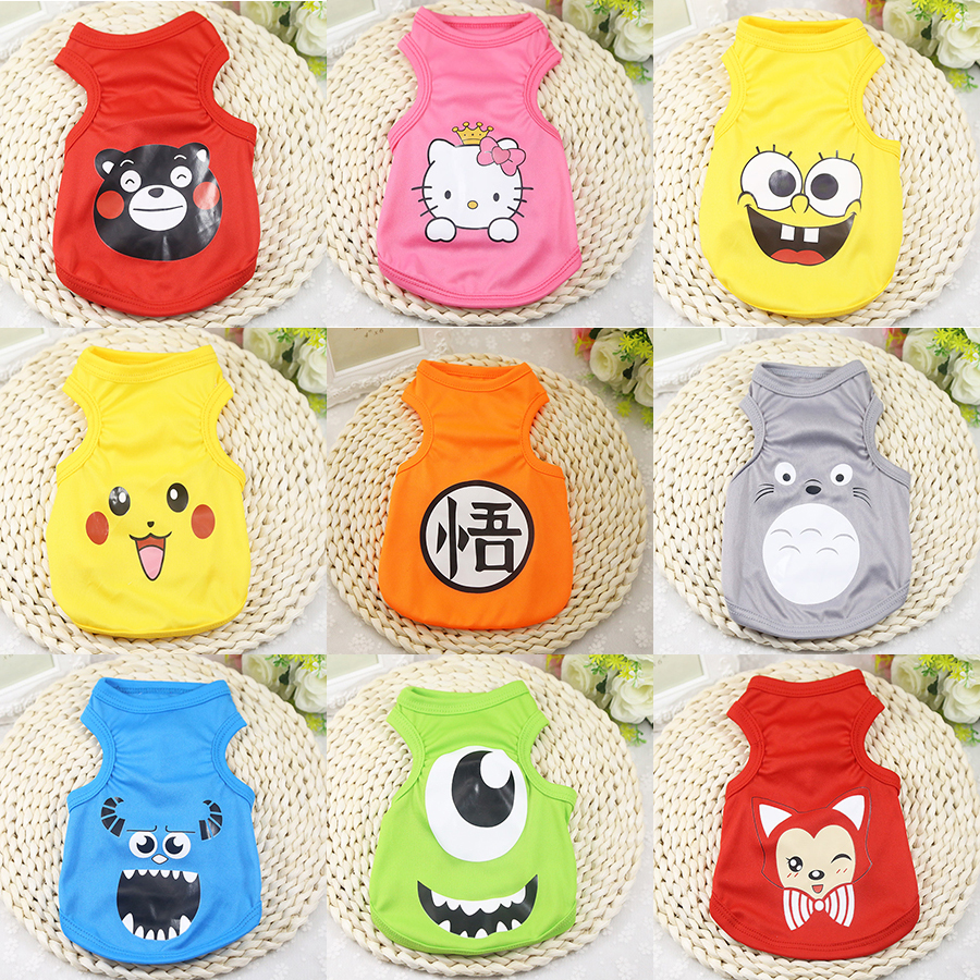 11 Styles Cute Pet Dog Clothes Cartoon Dog Cat T-shirt Soft Puppy Dogs Clothing Summer Shirt Casual Vests XS-XXL For Small Pets
