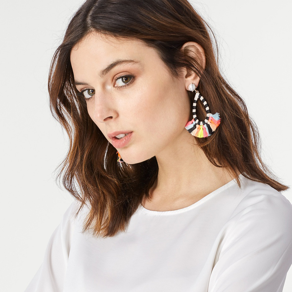 New Fashion Jewelry Ethnic Bohemia Multi-colors Tassel Dangle Drop Earring For Girls Fringed Earrings brinco