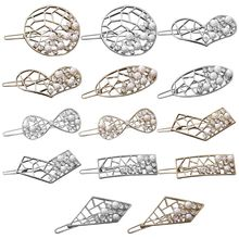 Korean Hollow Out Hairpin Geometric Decorative Frog Bobby Pin Women Girl Imitation Pearl Rhinestone Hair Clip Metallic Barrette