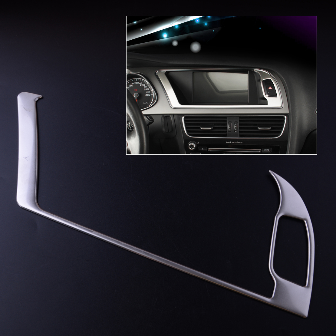 CITALL Stainless Steel Car Auto Center Console Navigation Warning Light Panel Cover Trim fit for Audi