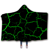 Anti Samely Scarves & Wraps Hooded Blanket 3D Print Green lines hooded poncho scarf shawl manteau femme hiver