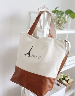 2013 canvas bag the new PARIS simple large capacity canvas shoulder diagonal unisex package Free Shipping