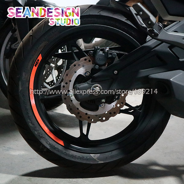 New For KTM Duke 200/250/390/690/990/1190/1290/RC8/RC390 4 Strips Wheel Sticker Reflective Rim Bike Motorcycle universal motorcycle accessories gear shifter shoe case cover protector for ktm duke 125 200 390 690 990 350 1290 adventure exc
