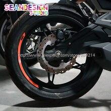 Novo para ktm duke 200/250/390/690/990/1190/1290/rc8/rc390 4 tiras etiqueta da roda aro reflexivo bicicleta motocicleta
