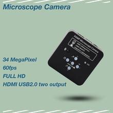 34mp 2K 1080P HDMI USB Industrial Electronic Digital Video Microscope Camera For Phone CPU PCB Repair hdmi usb industrial electronic eyepiece digital video camera 0 5x c mount lnes for biological stereo microscope