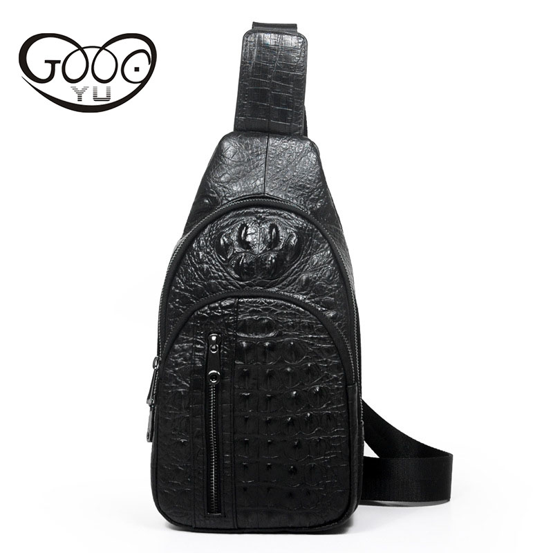 The new leather men s bag of ordinary models of crocodile pattern chest breeds European and American style shoulder bagThe new leather men s bag of ordinary models of crocodile pattern chest breeds European and American style shoulder bag