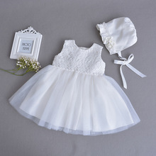 0-2 Year Old Fashion Baby Girl Dresses with Hat Beige Formal Party Wear Vestido 2019 Toddler Baby Girls Clothes RBF174027