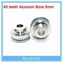 20 ШТ. 3D части принтера GT2 Сроки Ролик 40 зубов Alumium Диаметр 5 мм для ширина 6 мм ремня с БЕСПЛАТНОЙ ДОСТАВКОЙ для 3d-принтер часть