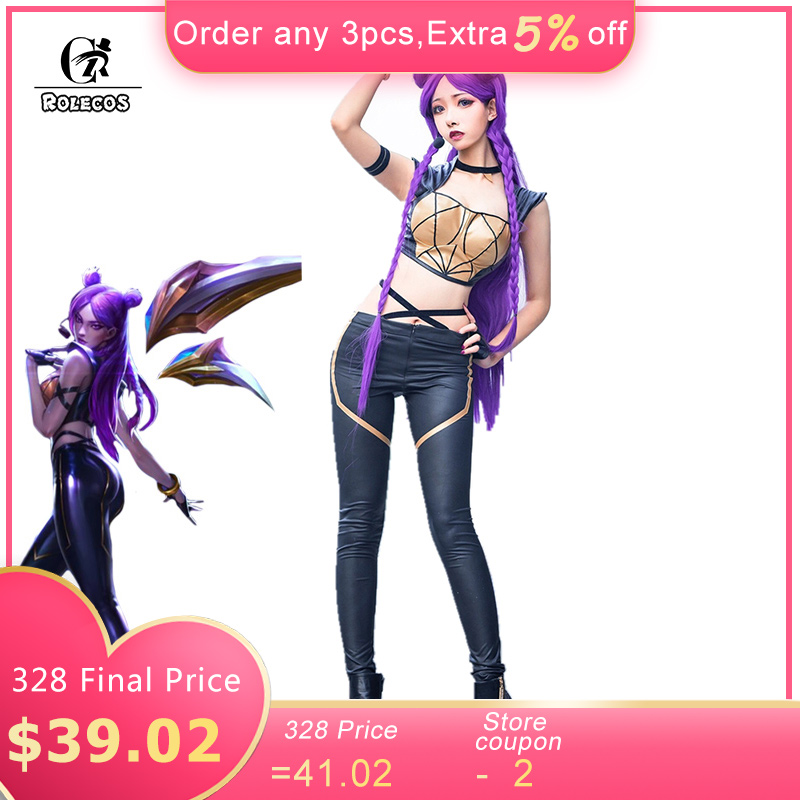 ROLECOS Game LOL K/DA Kaisa Cosplay Costume LOL KDA Cosplay Costume Leather Uniform Sexy Costume for Women Full Set with Gloves