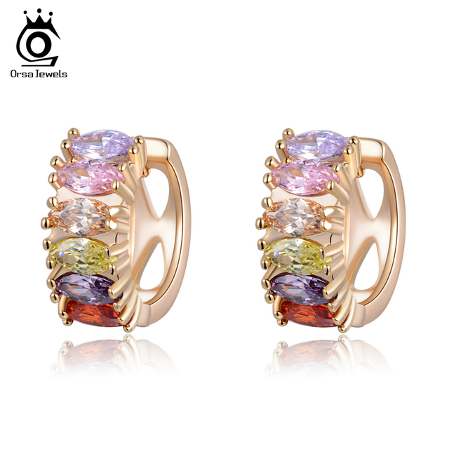 ORSA JEWELS Fashion Female Jewelry Multi Color AAA Cubic Zirconia Women Stud Zircon Earring Colorful Earrings for Women OME06