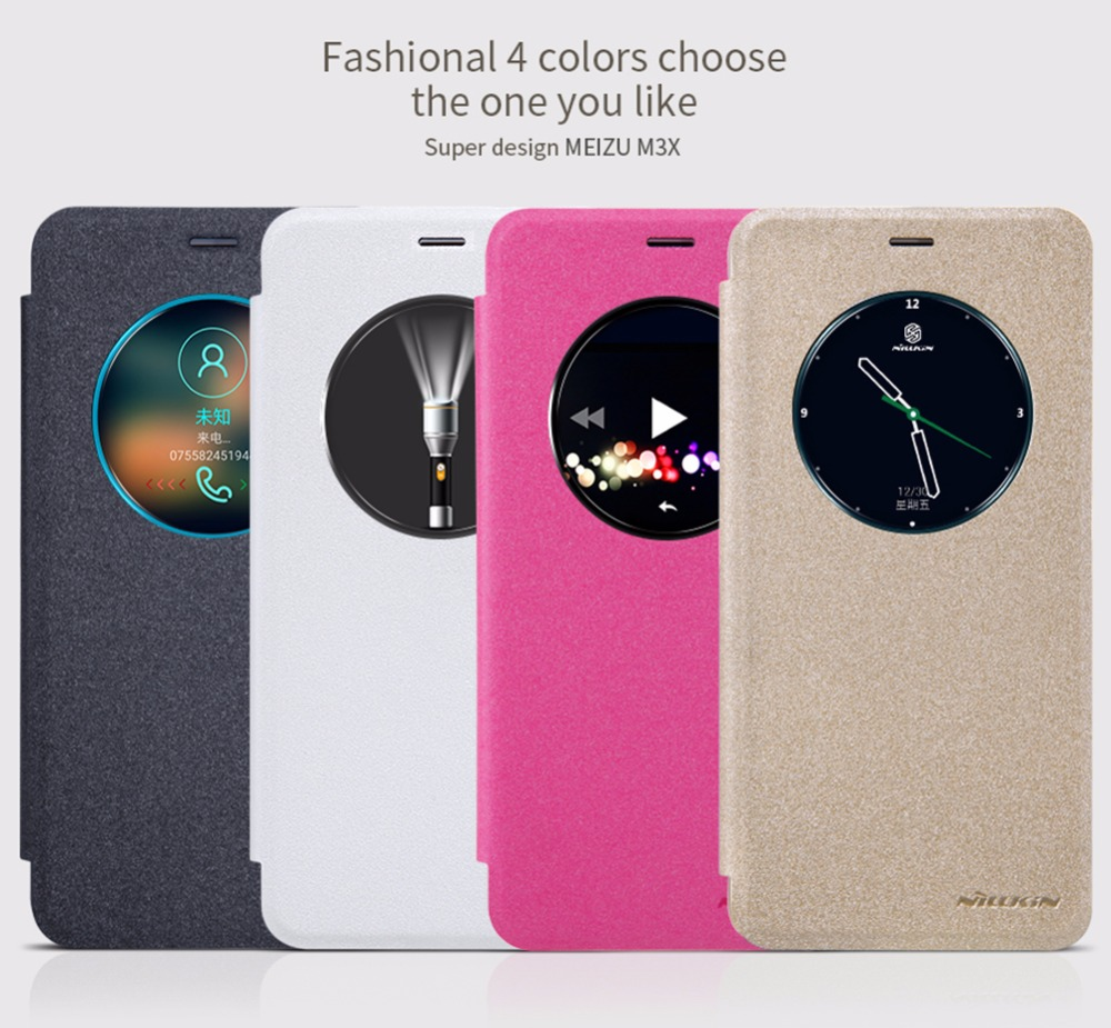 Leather Case for Meizu Meilan X 5.5'' NILLKIN sparkle PU leather flip cover smart wake up window for meizu m3x protective cover