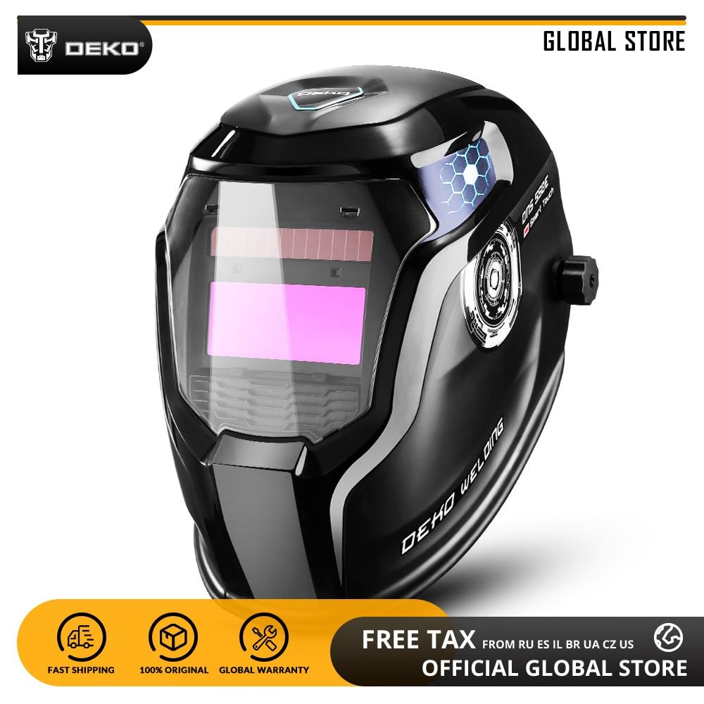 Global DEKO DNS-550E Energia Solar Auto Escurecimento Welding Helmet Welder Máscara Lente 92*42cm Maior Área de Visualização para TIG MIG MMA máquina de Moer