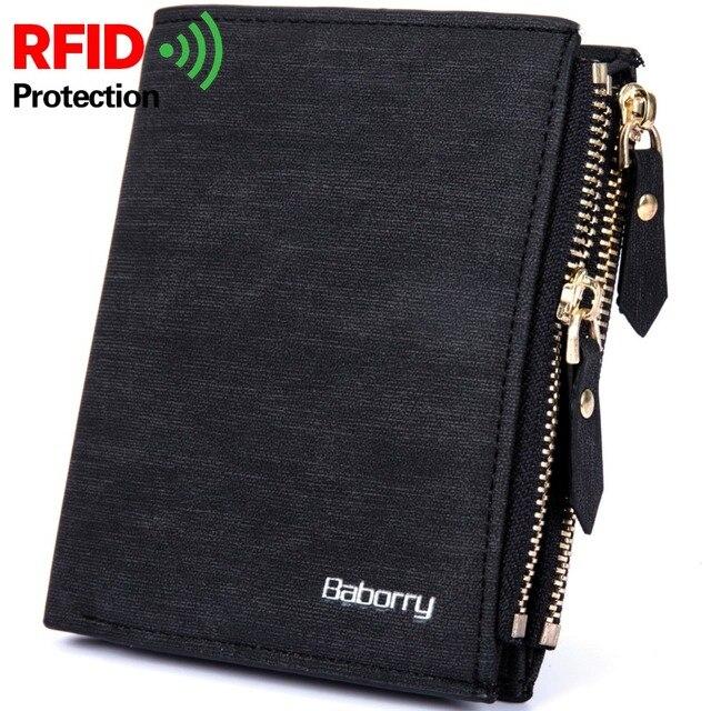 1c3256fc1 RFID Theft Protec Coin Bag zipper hombres billeteras marca famosa hombres  billetera hombre dinero monederos carteras
