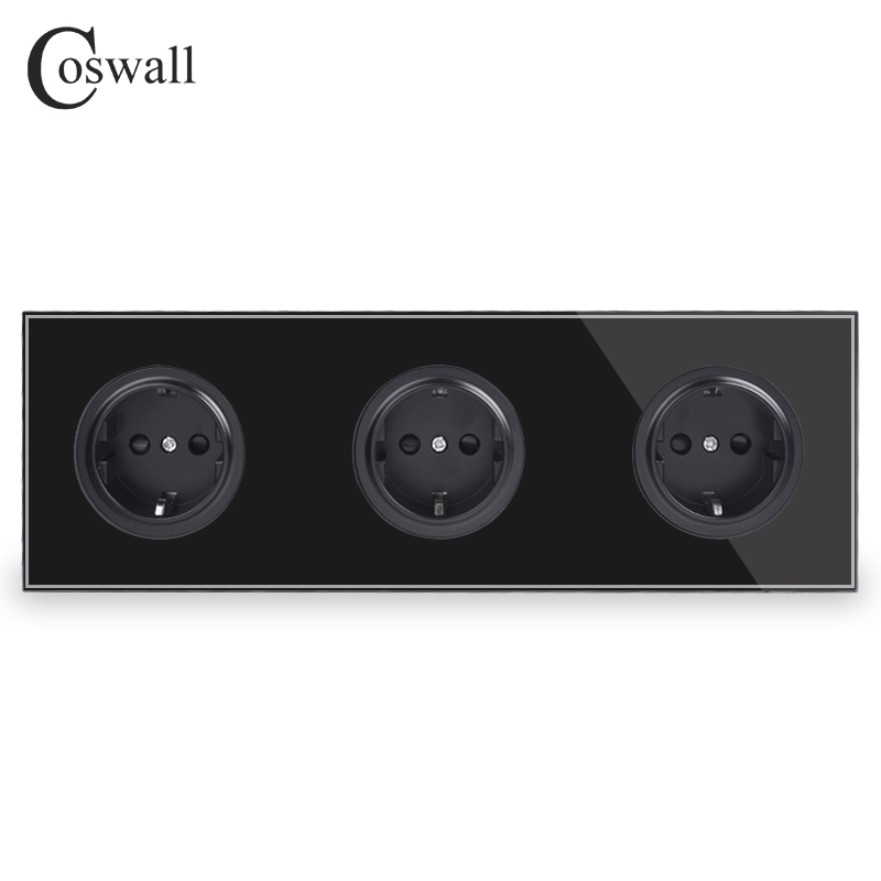 Coswall Crystal Tempered Pure Glass Black Panel 16A Triple EU Standard Wall Power Socket Outlet Grounded Child Protective Door