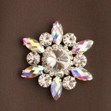 5 см кристалл ab Стразы в форме цветка аппликация Зеленый пришить