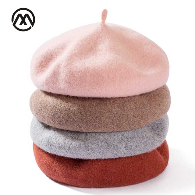 Lady spring Winter Berets Hat Painter style hat Women Wool Vintage Berets Solid Color Caps Female Bonnet Warm Walking Cap