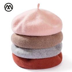 Леди Весна зима береты Hat художник стиль шляпа Для женщин шерсть винтажные береты одноцветное Цвет Кепки s Женский капот теплый берет для