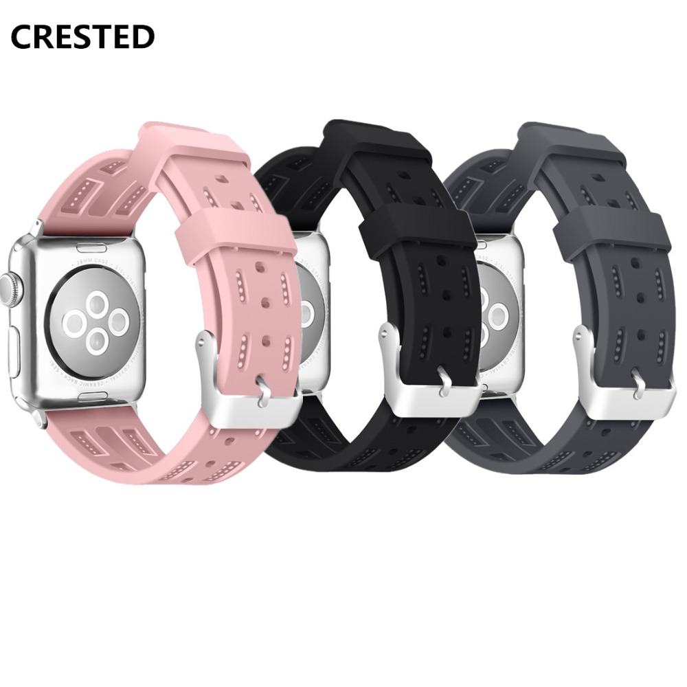 CRESTED Sport Band For Apple watch 42mm 38mm Silicone strap Iwatch bands series 3 2 1 wrist bracelet watchband belt Accessories crested crazy horse strap for apple watch band 42mm 38mm iwatch series 3 2 1 leather straps wrist bands watchband bracelet belt
