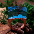 DoreenBeads Resin Secret Wood Wintry White Oak Enchanted Forest Wood Ring Deep Blue Faceted Rectangle16.9/17.9/19.1mm,1Pcs