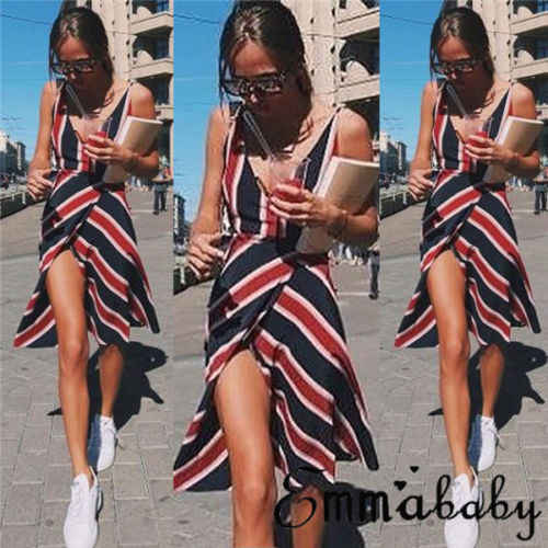 3a6569e2b24 New Fashion Womens Summer Striped Dress Holiday Off Shoulder Strappy V Neck  Backless Beach Sundress Ladies