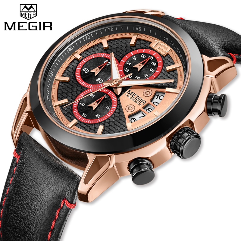 Fashion Men Sport Watches MEGIR Waterproof Chronograh Men Luxury Military Quartz Wrist Watch Casual Leather Strap Business Watch dropship migeer brand luxury fashion canvas strap watch men quartz watch casual males sport business wrist men watches