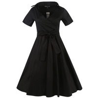 Sisjuly Women 2017 Vintage Party Dress Solid Black Mid Calf 1950s Retro Dresses Turn Down Collar
