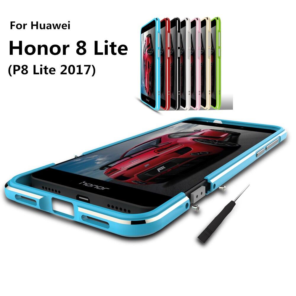 Цена за Роскошные ультра тонкий ударопрочного Защитный чехол алюминиевый бампер для Huawei Honor 8 Lite (P8 Lite 2017) + 2 пленка (1 Фронтальная + 1 задняя)