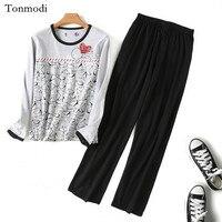 C B111 Sleep Set Autumn O Neck Long Sleeve Top Elastic Waist Trousers Lovers Design