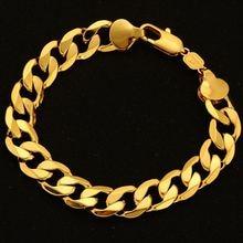 12 мм широкий браслет желтое золото заполненный мужской цепочка