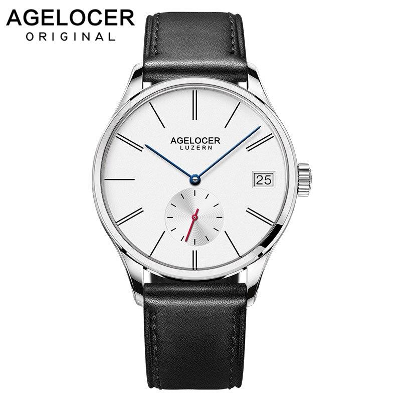 Agelocer оригинальный спортивный Swizerland Luzern модные повседневные часы с большим окошком даты Франция Натуральная кожа ремешок часы для мужчин