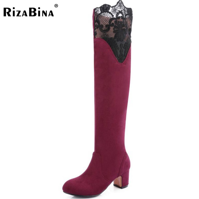 RizaBina Size 33-43 Women Shoes Thick High Heel Over Knee Winter Boots For Women Sexy Lace Flower Warm Plush Inside Warm Botas qiu dong in fashionable boots sexy and comfortable women s shoes the new national style high heel heel thick heel