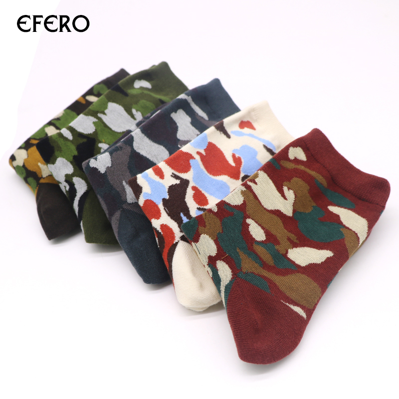 Efero Autumn And Winter Compression Socks Classic Camouflage Socks Male Business Style Colorful Mens 3d Print Socks Meias 3pair Men's Socks
