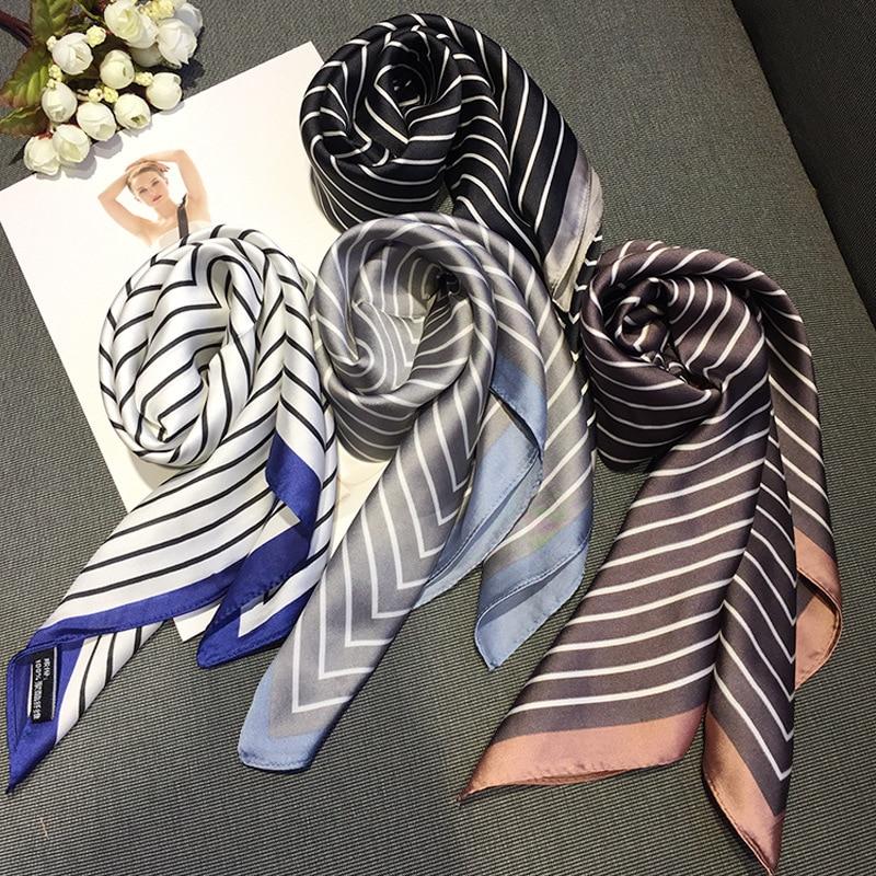 Women Striped Square Scarf Silk Scarves Dots Stewardess Hostess Ladies Office Neckerchief Foulard Bandana Size 70cm