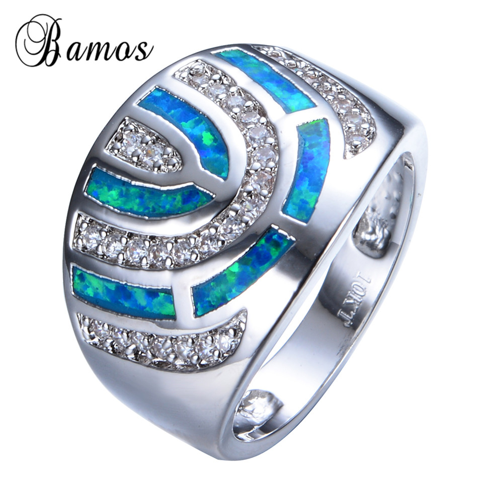 Fashion Geometric Blue Fire Opal Ring White Gold Filled Crystal Jewelry Vintage Wedding Rings For Men And Women RP0039