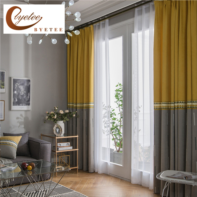byetee] Kitchen Blackout Curtains Doors For Bedroom Modern Chenille ...